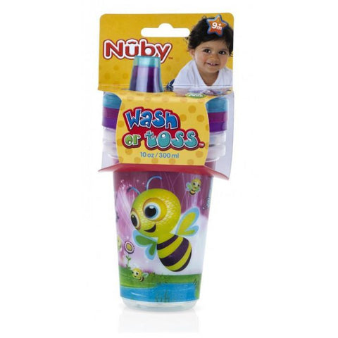 Nuby Wash or Toss Spout Cups with Lids (300ml x 3)