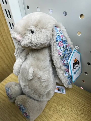Jellycat Blossom Beige Small HK Sale Bashful Bunny 18cm Blue Blossoms