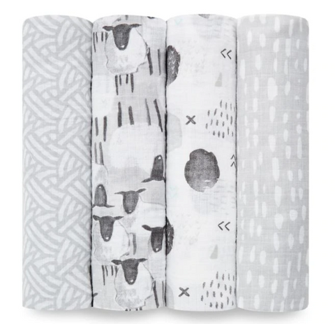 Aden + Anais SWADDLE PLUS PASTURE 4PK