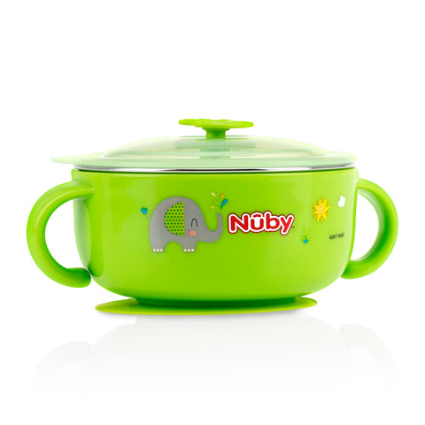 Nuby HK Sale Large Stainless Steel Suction Bowl with Water Reservoir and Lid-Green
