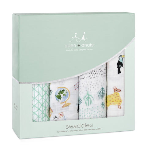 Aden + Anais CLASSIC SWADDLES AROUND THE WORLD 4PK