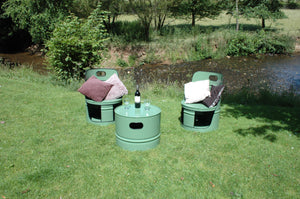 Upcycled Oil Drum Table and Chair Set