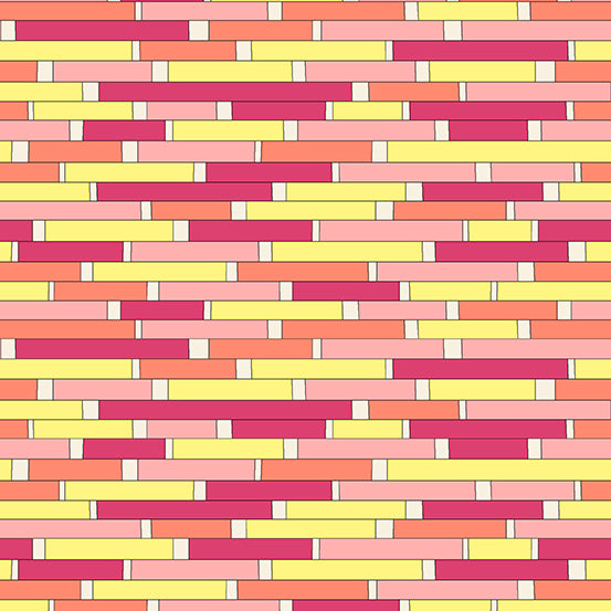 Uptown by  Kim Schaefer for Andover Fabrics. Backsplash Pink Yellow 8665-R £1.20 10cm