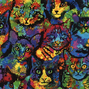 Animal Novelty fabric by Timeless Treasures-Cats 4140-Multi £1.40/10cm