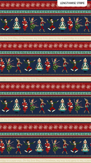 12 Days of Christmas by Northcott - Navy Border Stripe DP23453-49 £14/metre