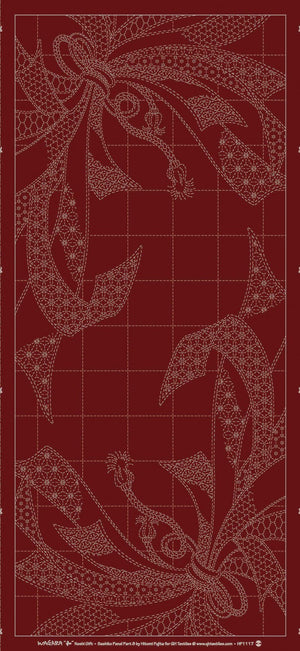 Wagara Sashiko Panel Noshi Red # HF1117-B03RD