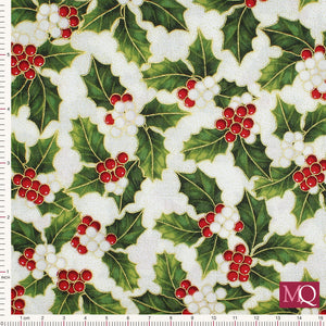 Poinsettia Song by Hoffman - Ivory Gold SQ7638 - £1.40/10cm