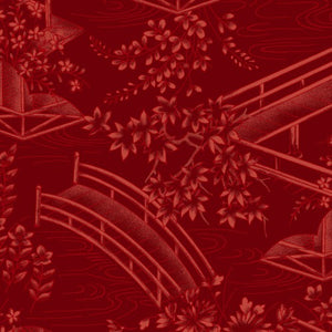 Japanese Garden By Maywood Studio Red-Toile-MAS8083-R - £1.30/10cm