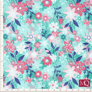 Fruity Friends by Makower Floral Blue 1945/B - Now £7/metre