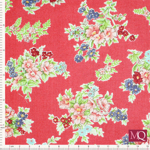 Katie Jane from Makower 1900_R Bouquet Red - £1.20/10cm £12/m