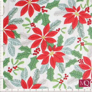 Swedish Christmas by Northcott - Poinsettias 22292-91 - £1.40/10cm