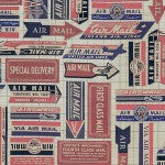 Eclectic Elements by Tim Holtz/Coats Fabrics Air Mail PWTH041-8RED - £1.40/10cm