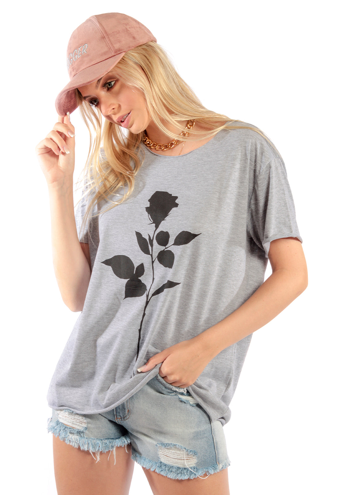 CAMISETA FEMININA BOYFRIEND - BLACK FLOWER