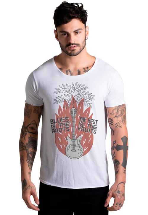 CAMISETA MASCULINA CORTE A FIO - BLUES IS THE ROOTS DTG