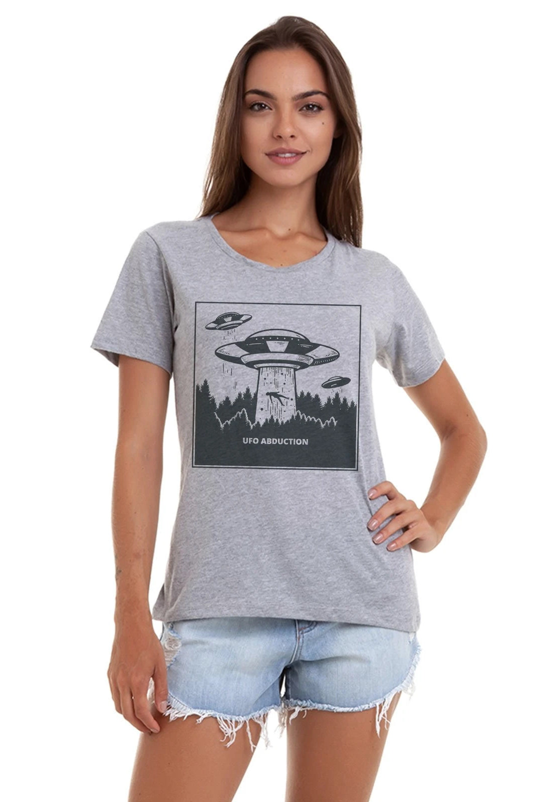 CAMISETA FEMININA BÁSICA ESTAMPADA JAY JAY - UFO ABDUCTION - SHOP JOSS