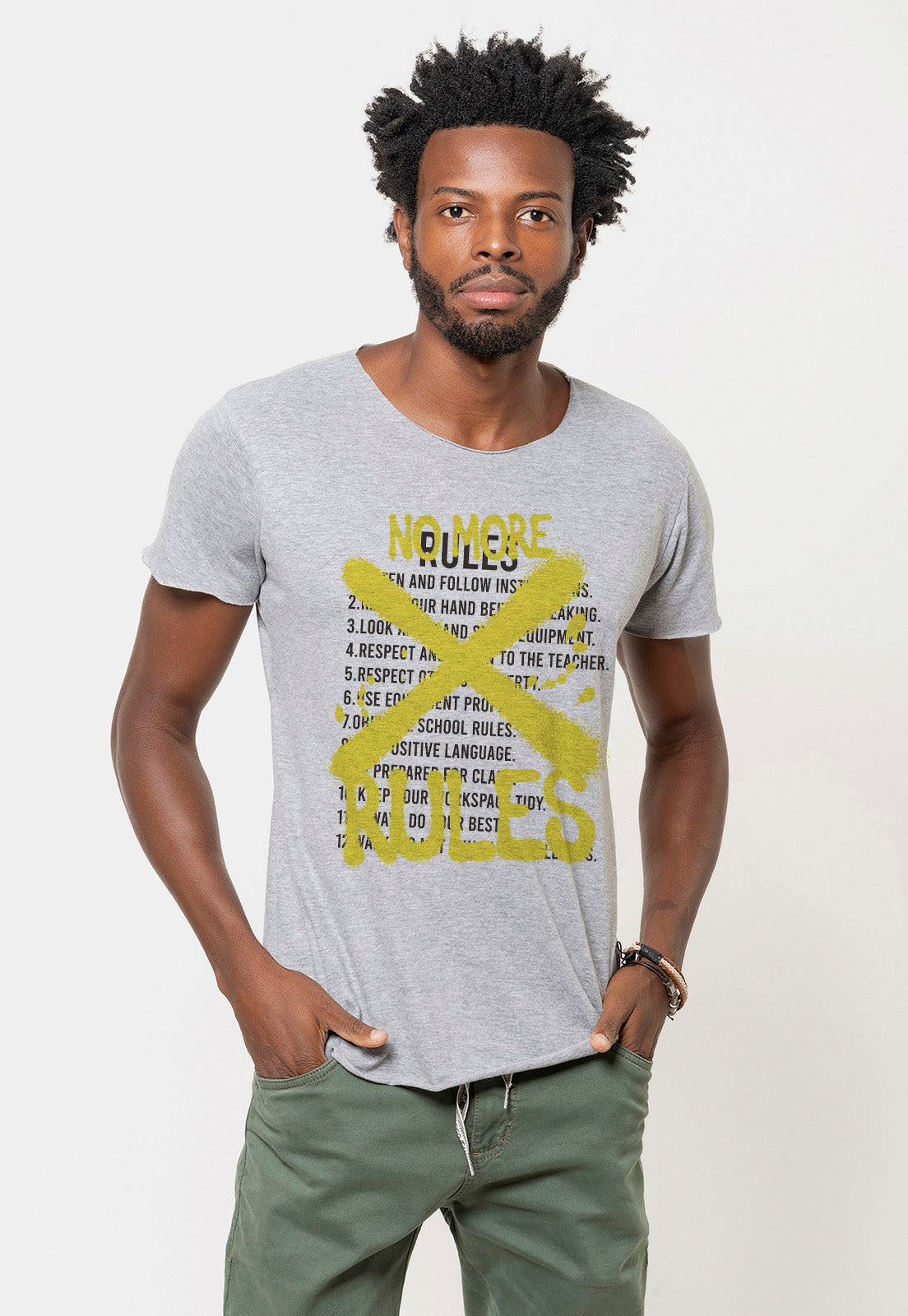 CAMISETA MASCULINA CORTE A FIO - NO MORE RULES DTG