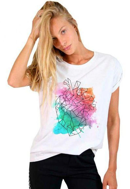 CAMISETA FEMININA BÁSICA ESTAMPADA JAY JAY - WATERCOLOR HEART - SHOP JOSS
