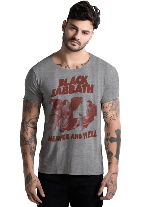 CAMISETA MASCULINA CORTE A FIO - HEAVEN AND HELL DTG
