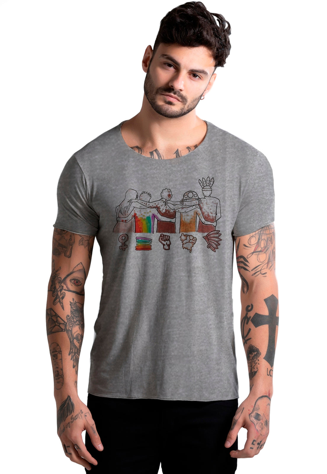 CAMISETA MASCULINA CORTE A FIO - WE ARE THE SAME DTG