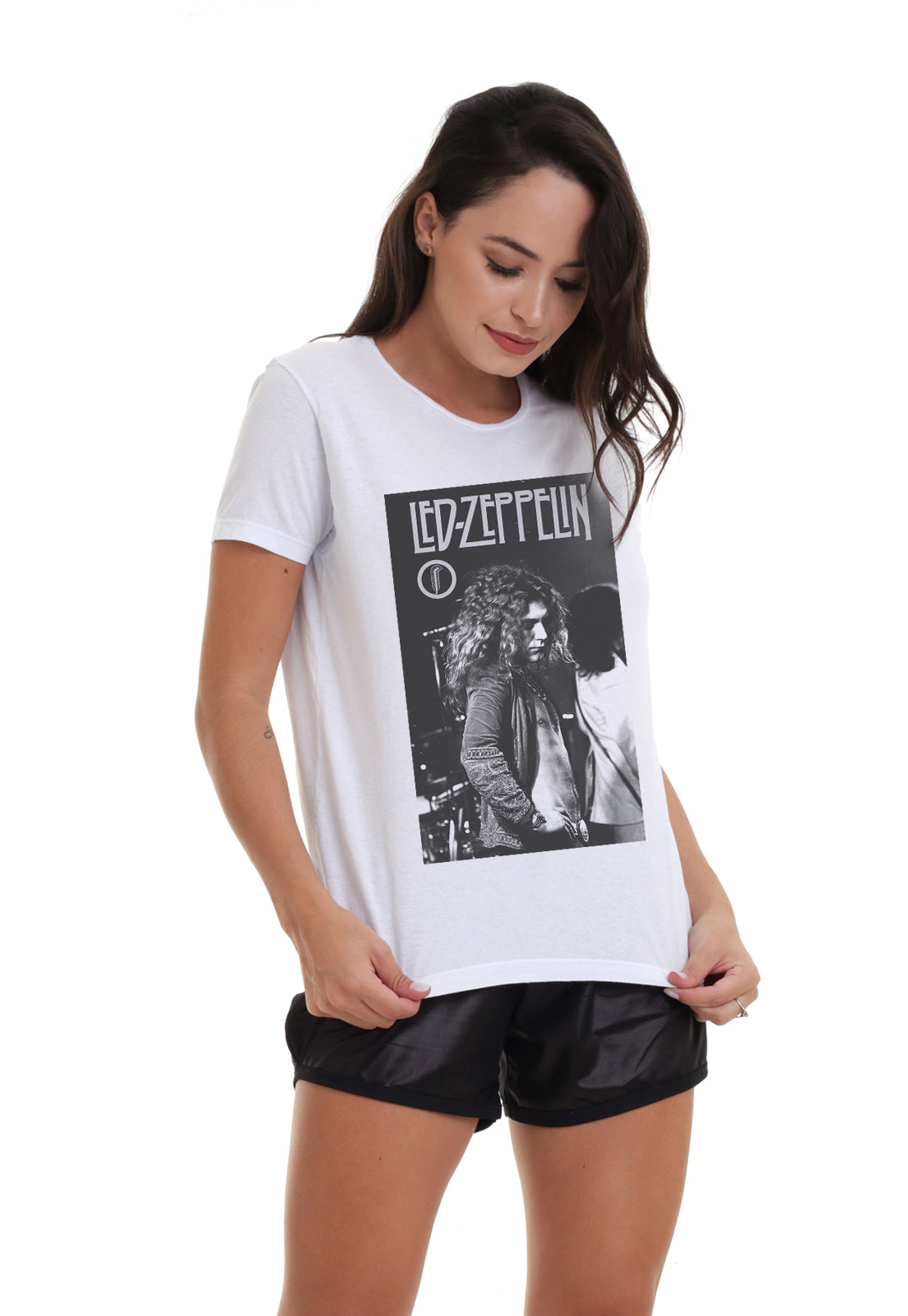 CAMISETA FEMININA BÁSICA ESTAMPADA JOSS - LED ZEPELLIN ROCK
