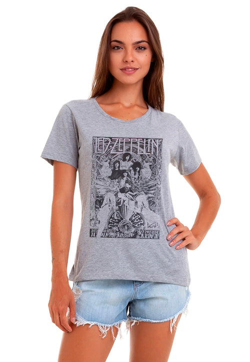CAMISETA FEMININA BÁSICA ESTAMPADA JOSS - LED RELIGION - SHOP JOSS