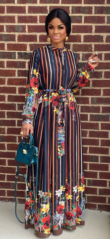 STRIPES FLORAL MAXI DRESS (BLACK)