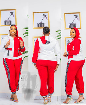 QUEEN OF MY LIFE JOGGERS SET (RED)