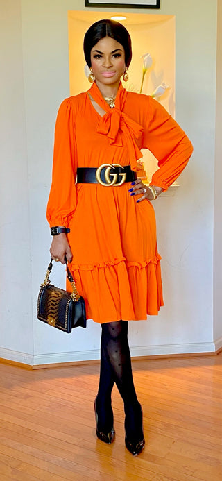 ORANGE MIDI BOWTIE DRESS