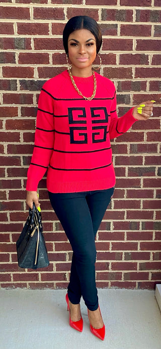 PARIS SWEATER TOP (RED)