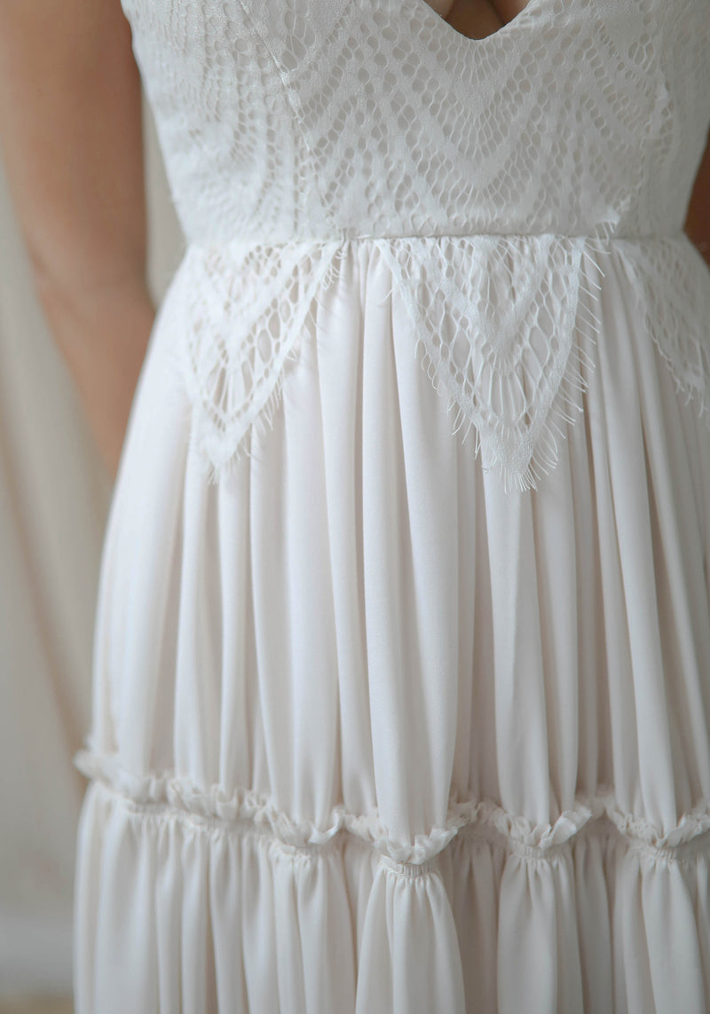 Lace Tiered Gown