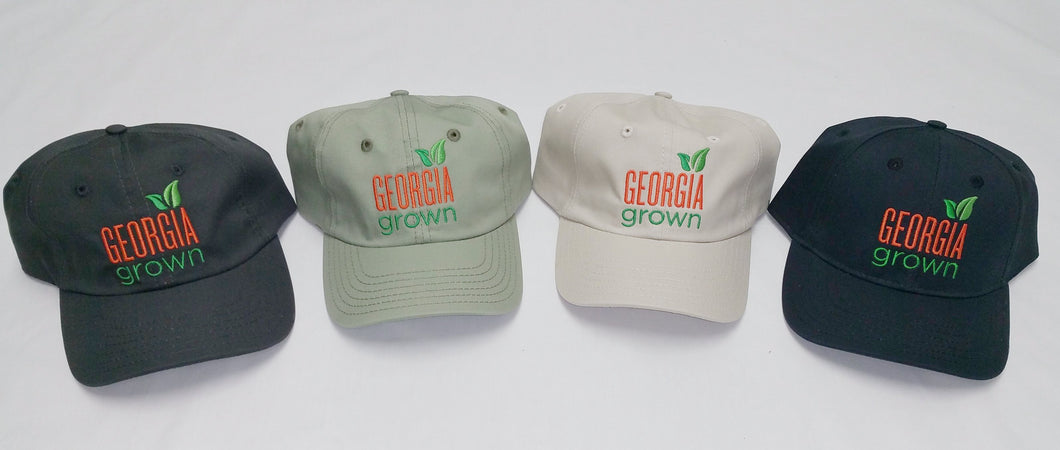 Baseball caps, solid panels with large Georgia Grown logo