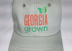Front View if Baseball cap, solid panels with large Georgia Grown logo