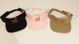 Visor, adjustable strap with small Georgia Grown Logo