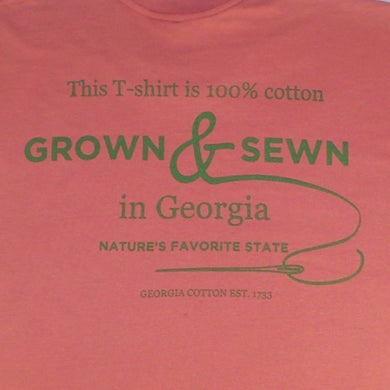 T-Shirt, red with large Grown and sewn logo on back and small Georgia Grown logo on left upper chest
