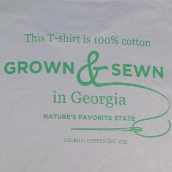 T-Shirt, grey with large Grown and sewn logo on back and small Georgia Grown logo on left upper chest