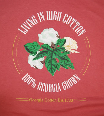 T-Shirt, red with large High Cotton logo on back and small Georgia Grown logo on left upper chest