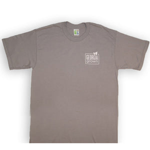 "Grey t-shirt with ""Georgia Grown"" Georgia Grown screen print artwork on upper left front and back."