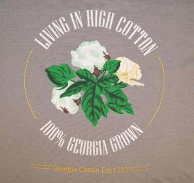 T-Shirt, grey with large High Cotton logo on back and small Georgia Grown logo on left upper chest