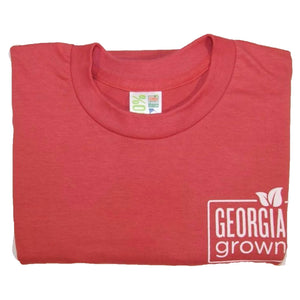 Folded red Georgia grown t-shirt with Georgia Grown logo on upper left front.