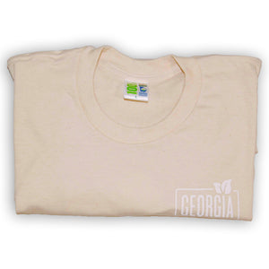 Adult t-shirt, Folded Natural with georgia grown logo on upper left chest