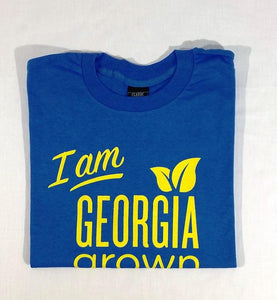 "Folded royal blue ""I am Georgia Grown"" t-shirt"
