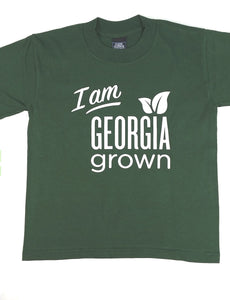 "Green T-shirt with large ""I am Georgia Grown""   logo on front."