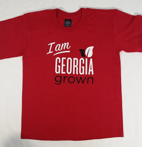 Front view of red 'I am Georgia Grown' t-shirt