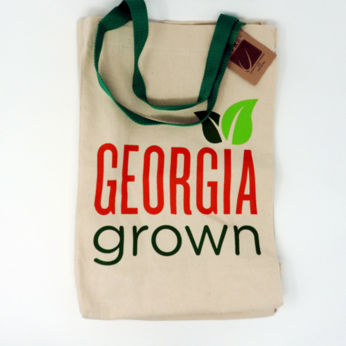 expandable tote bag with Georgia Grown logo