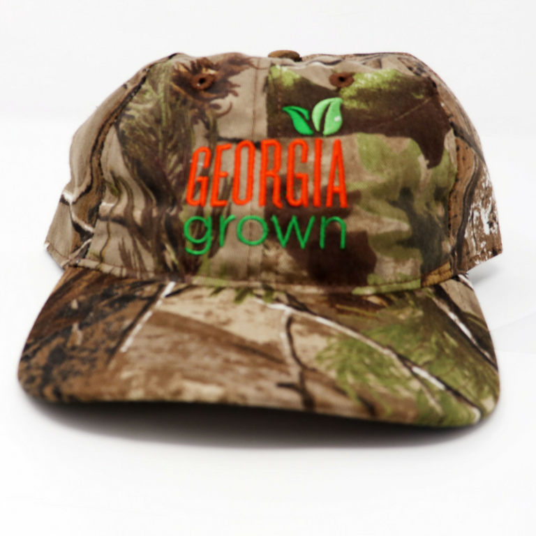 Baseball cap, solid camo panels with large Georgia Grown logo