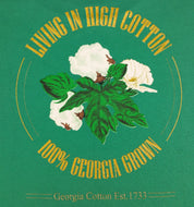 "Back of ""Living in High Cotton"" green t-shirt"