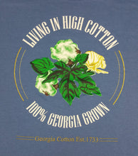 "100% Shirt: Blue with ""LIVING IN HIGH COTTON"" screen print"