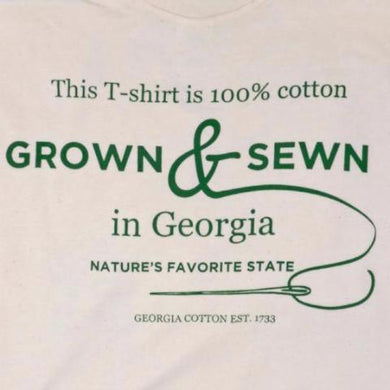 100% Georgia Grown Cotton T-shirt: Natural with screen print adult size