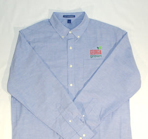 Full front men's blue oxford shirt