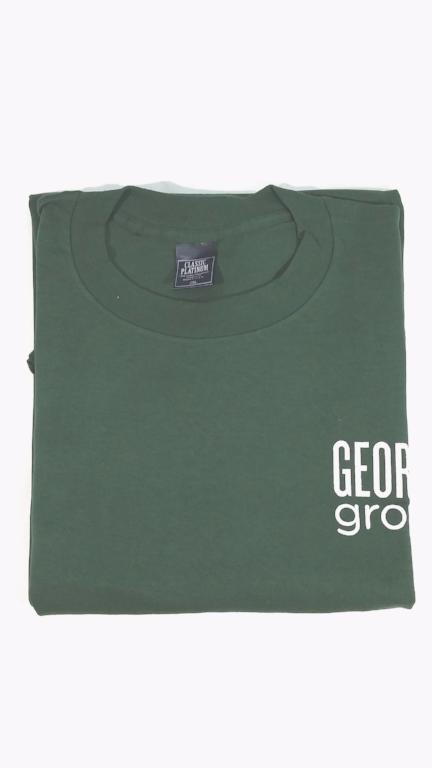 Forest Green t-shirt with Georgia Grown screen print artwork on upper left front and back.